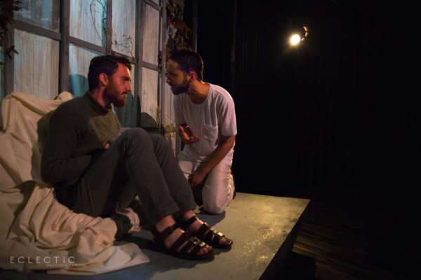 Judas (Alexander Utz) and Jesus (Matthew Harris) share a tense moment in THE LAST DAYS OF JUDAS ISCARIOT at Eclectic Full Contact Theatre.  Tickets available now at eclectic-theatre.com