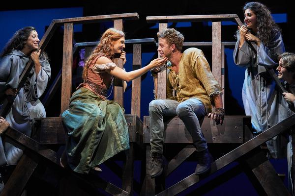 Esmeralda (Keri Rene Fuller*) and Quasimodo (Corey Mach*) share a tender moment atop  Photo