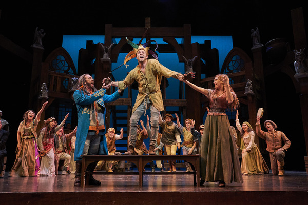 Quasimodo (Corey Mach*) is made the 'King of Fools' by Clopin (Alex Syiek*) and Esmeralda (Keri Rene Fuller*) with the ensemble: Derrick Cobey*, Aled Davies*, Jodi Dominick*, Jillian Kates*, Olivia Kaufmann, Andrew Kotzen*, Michelle Pauker, Mickey Patrick