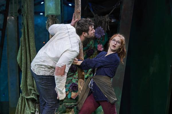 Helena (actor, Keri Rene Fuller*) staves off a kiss from Demetrius (actor, Jon Loya*)