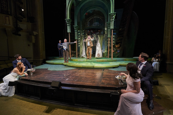 """Peter Quince (actor, Tom Ford*) presents Snug (actor, Aled Davies*) as a lion in the mechanical's production of """"Pyramus and Thisbe� as Demetrius (actor, Jon Loya*), Helena (actor, Keri Rene Fuller*), Hippolyta (actor, Jillian Kates*) and Theseus (act"""