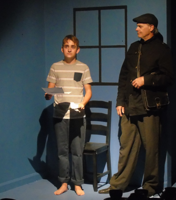 Buddy Handleson (Young Man) and Edgar Allan Poe IV (Postman) in afterlife: a ghost story by Steve Yockey