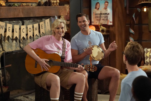 "WILL & GRACE -- ""Grandpa Jack"" Episode 105 -- Pictured: (l-r) Jane Lynch as Roberta, Andrew Rannells as Reggie -- (Photo by Chris Haston/NBC)"
