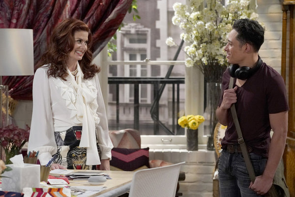 """WILL & GRACE -- """"Grandpa Jack"""" Episode 105 -- Pictured:  (l-r) Debra Messing as Grace Adler, Anthony Ramos as Tony -- (Photo by Chris Haston/NBC)"""