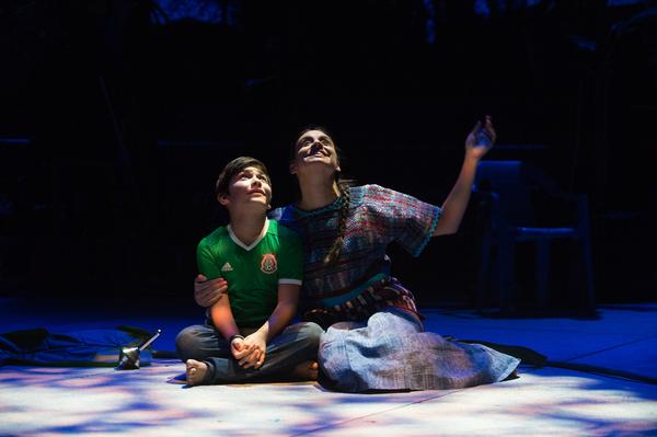 Medea (Sabina Zuniga Varela) looks at the night sky with her son Acan (Jahnangel Jimenez)