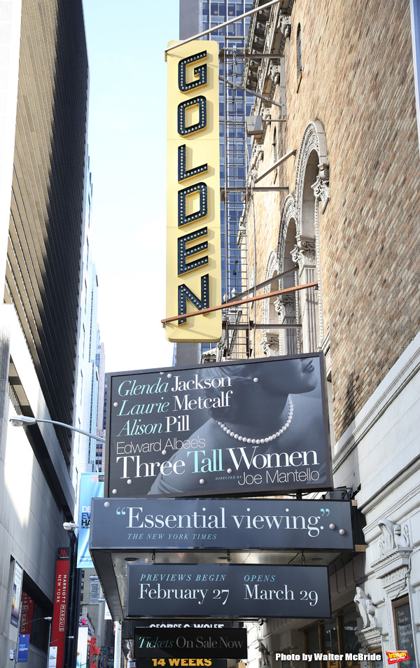 Theatre Marquee unveiling for Edward Albee's 1994 Pulitzer Prize-winning masterpiece, 'Three Tall Women' starring Glenda Jackson, Laurie Metcalf and Alison Pill under the direction of Joe Mantello at the Golden Theatre on October 17, 2017 in New York City