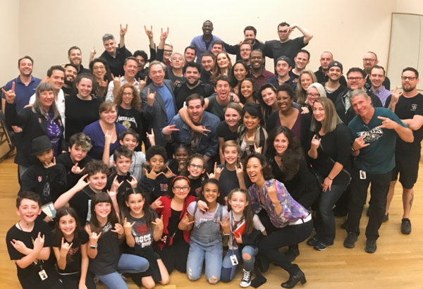 Andrew Lloyd Webber with the touring company of SCHOOL OF ROCK - THE MUSICAL in Columbus, Ohio.