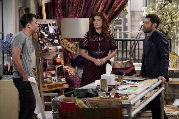 "WILL & GRACE -- ""How to Succeed in Business Without Really Crying"" Episode 106 -- Pictured: Anthony Ramos as Tony, Debra Messing as Grace Adler, Max Greenfield as Eli Wolff -- (Photo by Chris Haston/NBC)"