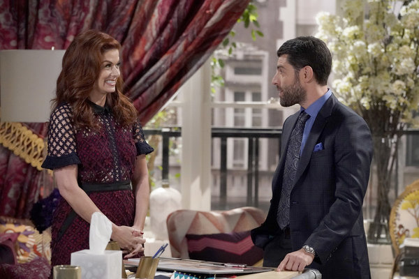 "WILL & GRACE -- ""How to Succeed in Business Without Really Crying"" Episode 106 -- Pictured: Debra Messing as Grace Adler, Max Greenfield as Eli Wolff -- (Photo by Chris Haston/NBC)"