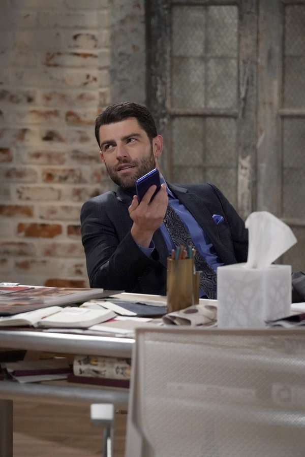 "WILL & GRACE -- ""How to Succeed in Business Without Really Crying"" Episode 106 -- Pictured: Max Greenfield as Eli Wolff -- (Photo by Chris Haston/NBC)"