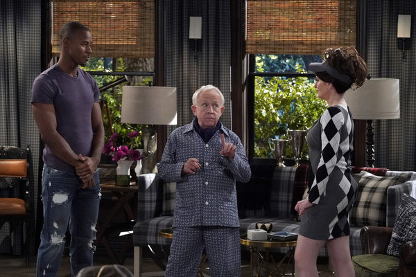 """WILL & GRACE -- """"How to Succeed in Business Without Really Crying"""" Episode 106 -- Pictured: Justin Shaw as Benji, Leslie Jordan as Beverley Leslie, Megan Mullally as Karen Walker -- (Photo by Chris Haston/NBC)"""
