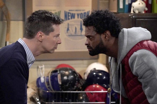 """WILL & GRACE -- """"How to Succeed in Business Without Really Crying"""" Episode 106 -- Pictured: Sean Hayes as Jack McFarland, Derek Gaines as Theodore -- (Photo by Chris Haston/NBC)"""