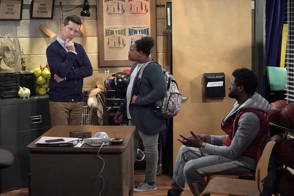 """WILL & GRACE -- """"How to Succeed in Business Without Really Crying"""" Episode 106 -- Pictured: Sean Hayes as Jack McFarland,  Jordan Julian as Tasha, Derek Gaines as Theodore -- (Photo by Chris Haston/NBC)"""