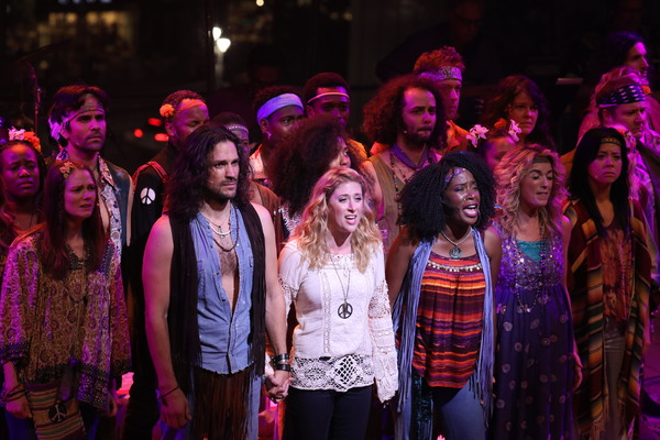 Will Swenson, Caissie Levy, and Jeannette Bayardelle (center) and the HAIR company
