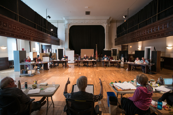 The company in rehearsal for THE MINUTES at Steppenwolf Theatre Company