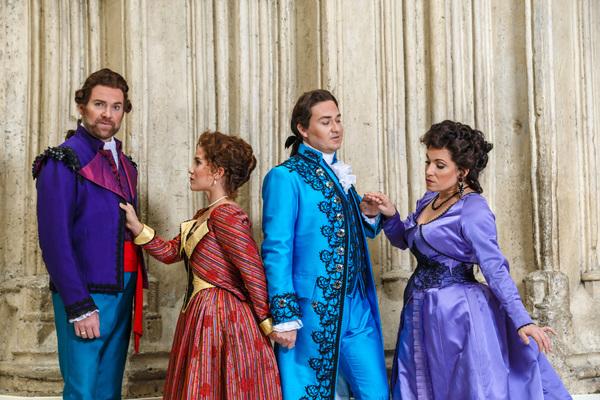 Figaro (Tyler Simpson), Susanna (Joélle Harvey), Count (Christian Bowers) and Cou Photo