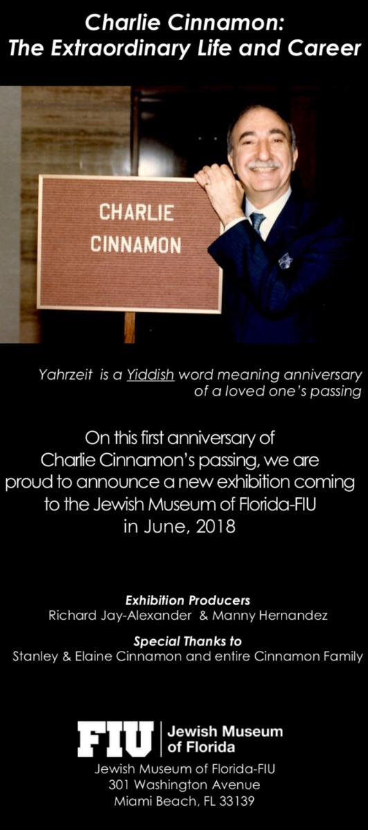 Legendary Publicist Charlie Cinnamon to Be Honored with New Exhibition at Jewish Museum of Florida-FIU