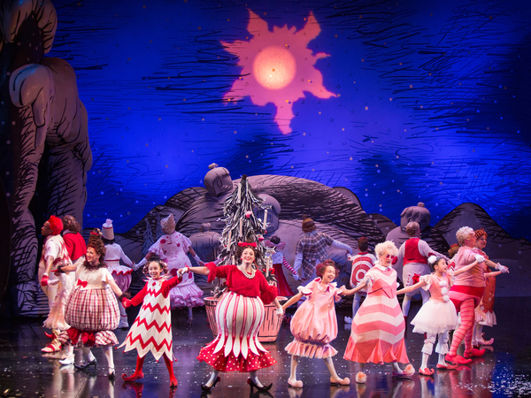The cast of Dr. Seuss's How the Grinch Stole Christmas at The Old Globe