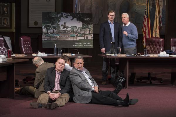(sitting) Danny McCarthy (Mr. Hanratty) and Jeff Still (Mr. Assalone) and (standing) Cliff Chamberlain (Mr. Peel) and ensemble member William Petersen (Mayor Superba)