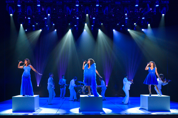 LaChanze as 'Diva Donna,' Ariana DeBose as 'Disco Donna' and Storm Lever as 'Duckling Donna' with the cast of La Jolla Playhouse's world premiere of SUMMER: THE DONNA SUMMER MUSICAL