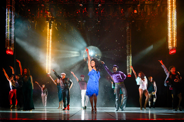 Ariana DeBose (center) as 'Disco Donna' with the cast of La Jolla Playhouse's world premiere of SUMMER: THE DONNA SUMMER MUSICAL