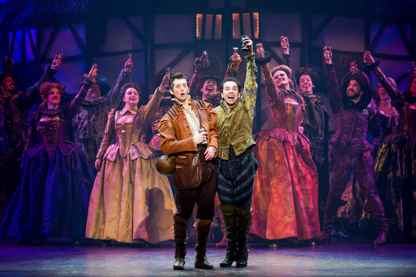 Josh Grisetti and Rob McClure with the cast of SOMETHING ROTTEN!