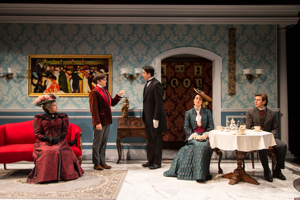 Randy Danson (Lady Bracknell), Sam Lilja (Algernon Moncrieff), Henry Vick (Lane), Rosa Gilmore (Gwendolen Fairfax) and Federico Rodriguez (John Worthing) in The Importance of Being Earnest at Two River Theater.