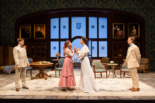 Sam Lilja (Algernon Moncrieff), Liesel Allen Yeager (Cecily Cardew), Rosa Gilmore (Gwendolen Fairfax) and Federico Rodriguez (John Worthing) in The Importance of Being Earnest at Two River Theater.