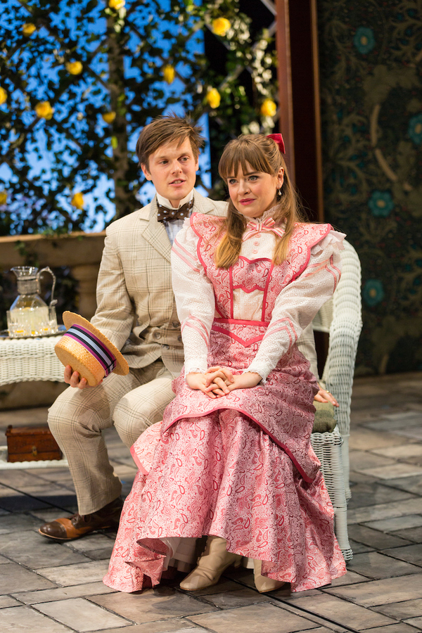 Sam Lilja (Algernon Moncrieff) and Liesel Allen Yeager (Cecily Cardew) in The Importance of Being Earnest at Two River Theater.