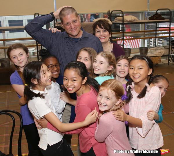 Christopher Sieber and Beth Leavel with Cassidy Pry and Peyton Ella and cast