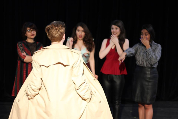 A special guest stops by the lingerie shop! (l. to r. Nicole Nesson, Helen Rios, Paige Thomas, Micah Obregon; foreground Samuel Denomy)