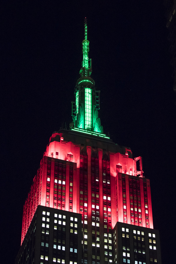 The Empire State Building on opening night of the 2017 CHRISTMAS SPECTACULAR STARRING THE ROCKETTES