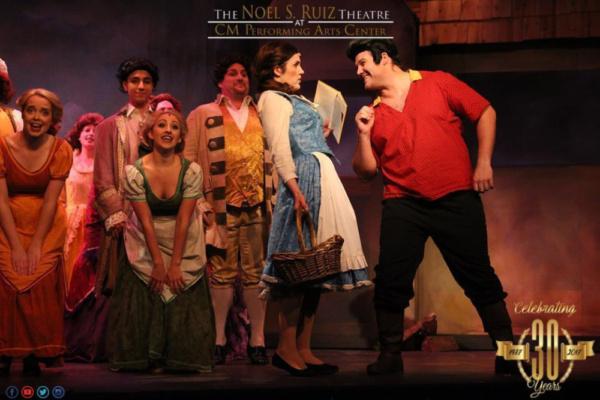 Gaston (Corey Martin), Belle (Katie Ferretti), and the Townspeople