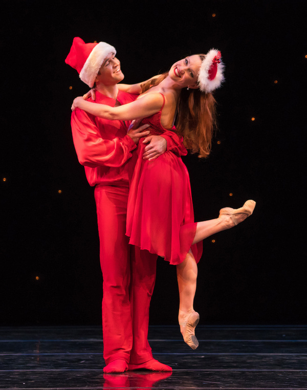 Smuin dancers Jonathan Powell and Erin Yarbrough-Powell appear in White Christmas, choreographed by dancer Ben Needham-Wood after Michael Smuin, part of Smuin's annual The Christmas Ballet, touring the Bay Area now through December 24.