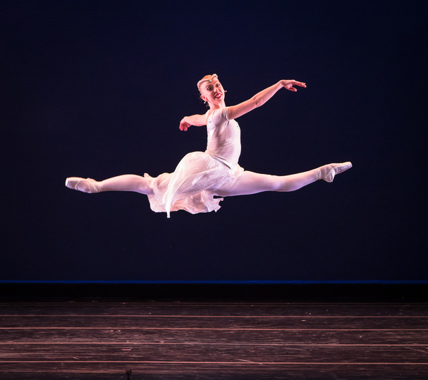 Smuin dancer Nicole Haskins soars in Choreographer-in-Residence Amy Seiwert's Christmas Concerto, part of Smuin's annual The Christmas Ballet touring the Bay Area now through December 24.