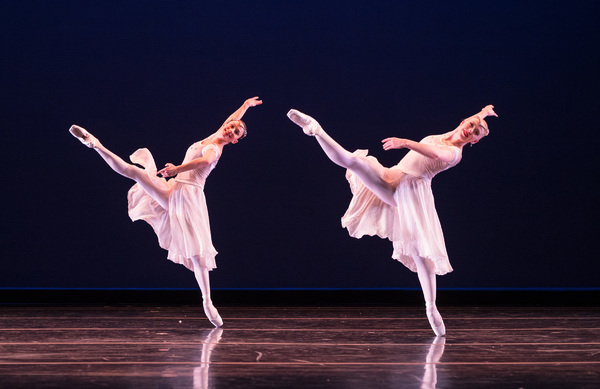 Smuin dancers Terez Dean and Nicole Haskins perform in Choreographer-in-Residence Amy Seiwert's Christmas Concerto, part of Smuin's annual The Christmas Ballet touring the Bay Area now through December 24.