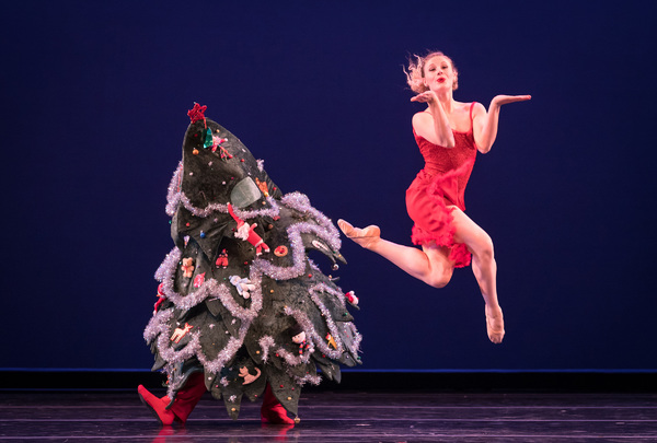 Smuin dancers Ben Needham-Wood and Tessa Barbour in Christmas Tree Rock, choreographed by Smuin dancer Rex Wheeler, part of Smuin's annual The Christmas Ballet touring the Bay Area now through December 24.