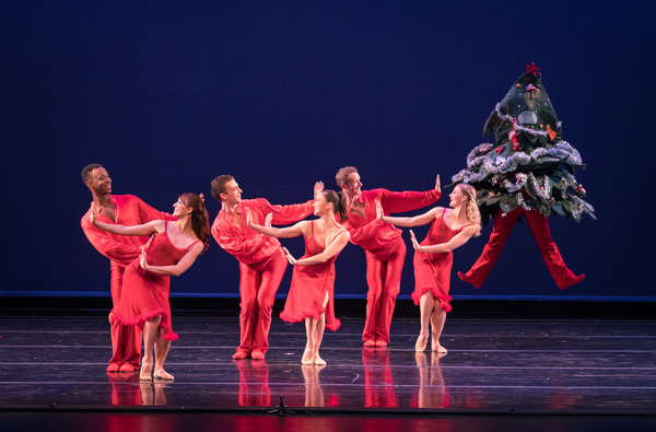 From L-R: Smuin dancers Robert Kretz, Terez Dean, Erica Chipp-Adams, Ben Needham-Wood, Dustin James, Oliver-Paul Adams, and Tessa Barbour in Christmas Tree Rock choreographed by Smuin dancer Rex Wheeler, part of Smuin's annual The Christmas Ballet touring