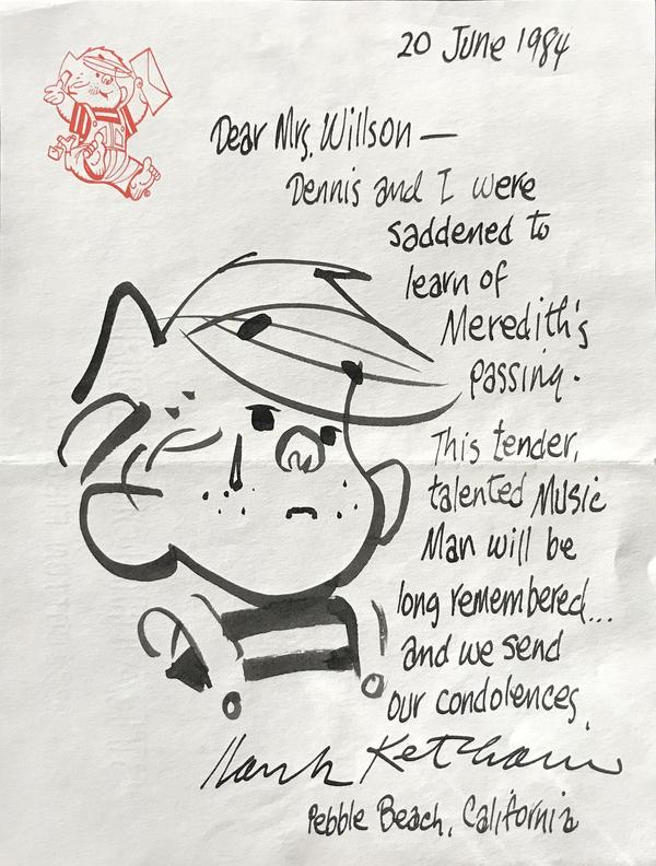 1984 condolence note to Willson's widow, Rosemary, from Dennis the Menace crea Photo