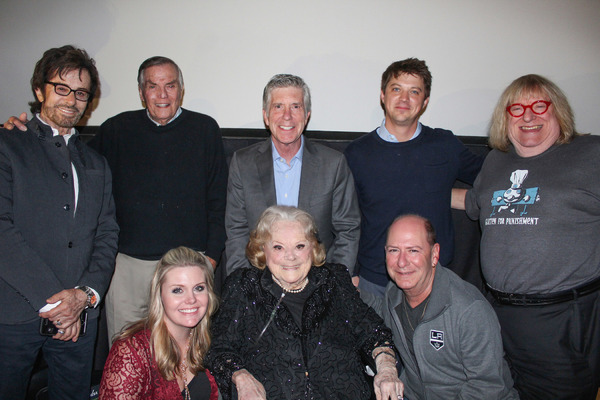 "Screening participants and guests at Towne Center screening of ""Wait For Your Laugh"" Top Row: George Chakiris, Peter Marshall, Tom Bergeron, Jason Wise, Bruce Vilanch; Btm Row: Christina Wise, Rose Marie and Larry Matthews"