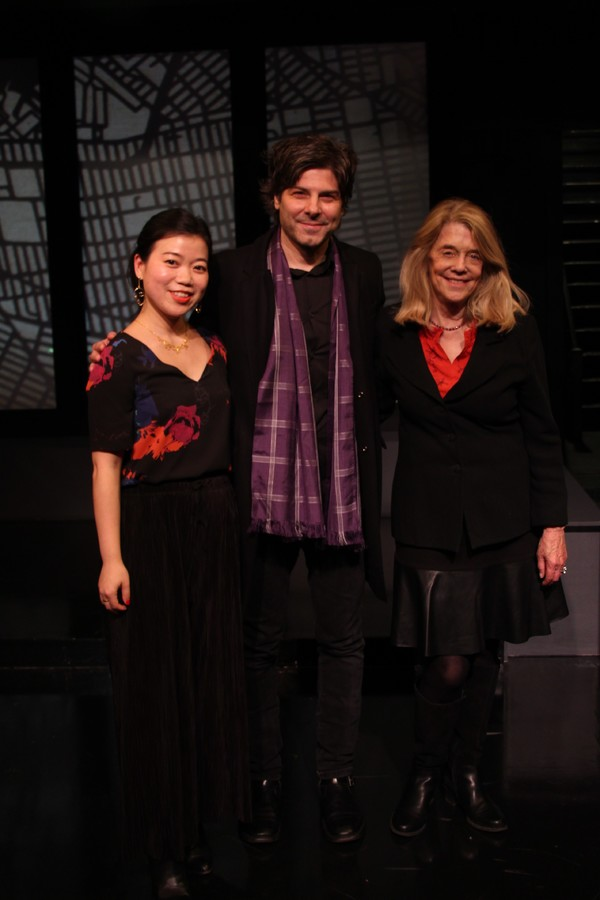 Playwright Zhu Yi, Director John Giampietro and Urban Stages Artistic Director Frances Hill