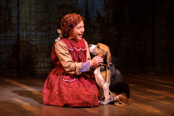 Eloise Field (Annie in LIGHT cast) and Shiloh the dog (Sandy in LIGHT cast) in rehearsal for Skylight Music Theatre's production of Annie running November 17 through December 27.