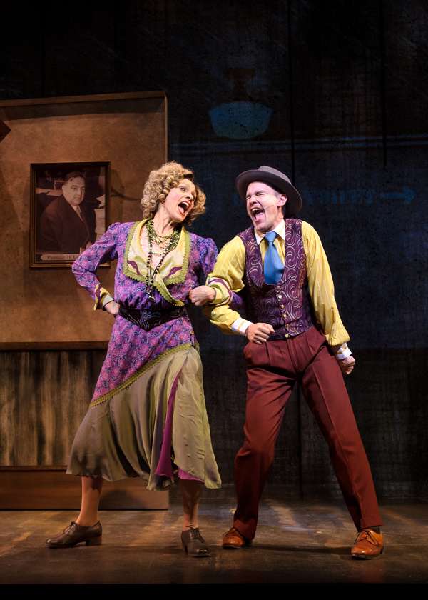 Carrie Hitchcock (Miss Hannigan) and Matt Crowle (Rooster) in rehearsal for Skylight Music Theatre's production of Annie running November 17 through December 27.
