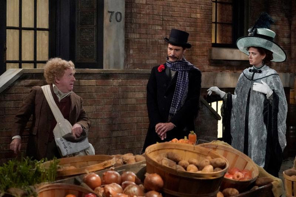 Pictured middle:  (l-r) Leslie Jordan as Charlie, Eric McCormack as Billem Van Williams, Debra Messing as Fanny Van Williams
