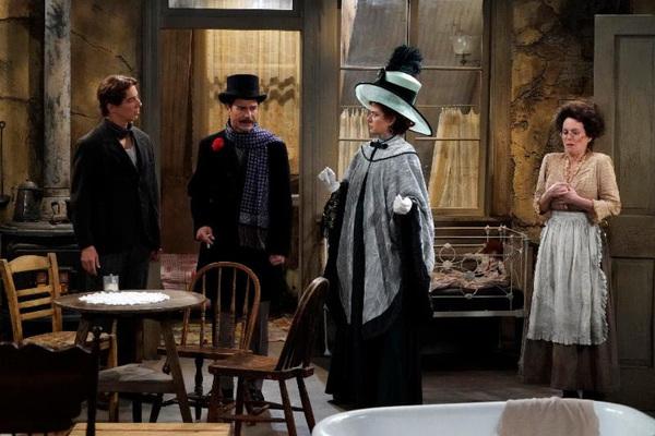 (l-r) Sean Hayes as John Patrick McGee, Eric McCormack as Billem Van Williams, Debra Messing as Fanny Van Williams, Megan Mullally as Karolyn O'Malley