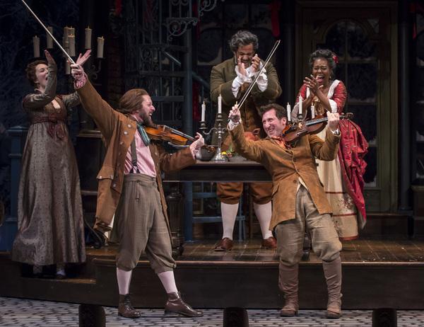 Ali Burch, Andrew Coil  (Musician/Fiddler), Jonah D. Winston (Mr. Fezziwig), Penelope Walker (Mrs.Fezziwig) and Gregory Hirte (Musician, Fiddler)