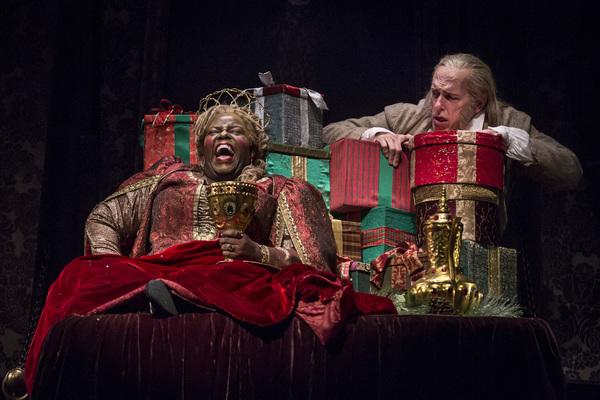 Lisa Gaye Dixon (Ghost of Christmas Present) and Larry Yando (Ebenezer Scrooge)
