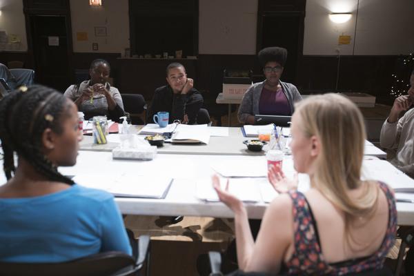 (front) Celeste Cooper (Imani) and Kelly O'Sullivan (That Bitch on the Couch/White Woman); (rear) director Nataki Garrett, playwright Aziza Barnes and script supervisor Regina Victor