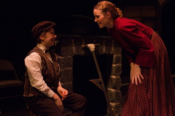 "AUDREY STOWE (Tiny Tim) and ANDREA GORDON (Martha) from the Lakewood Playhouse Production of ""A CHRISTMAS CAROL"""