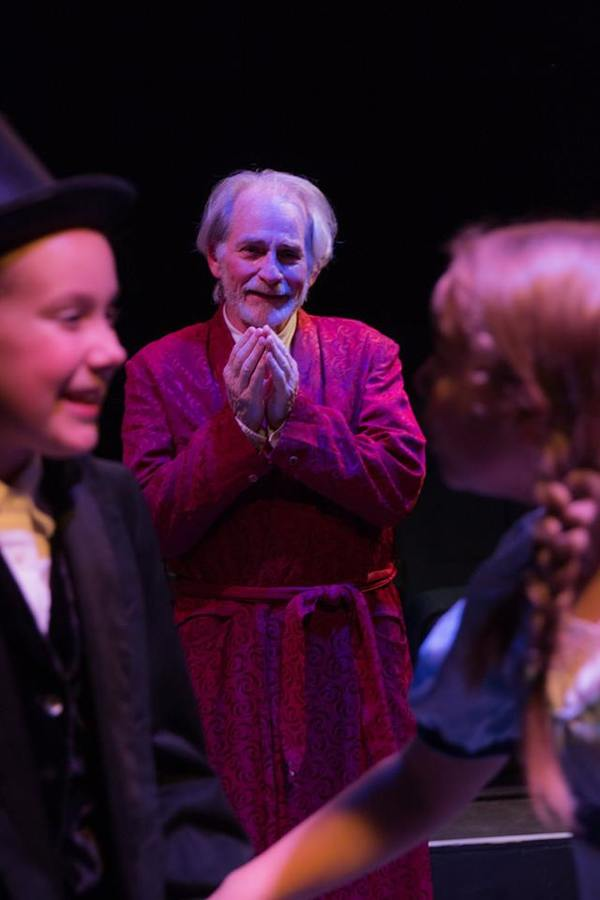 """ABBIE WACHTER (Younges Scrooge), JOSEPH GRANT (Scrooge) and AUDREY STOWE (Fan) from the Lakewood Playhouse Production of """"A CHRISTMAS CAROL"""""""